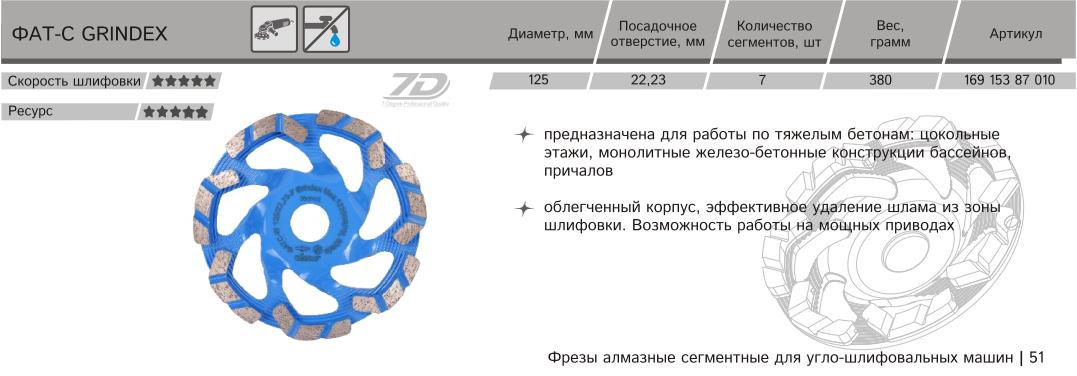 Алмазная сегментная торцевая фреза Distar ФАТС-W 125/22,23-7 Grindex 169 153 87 010