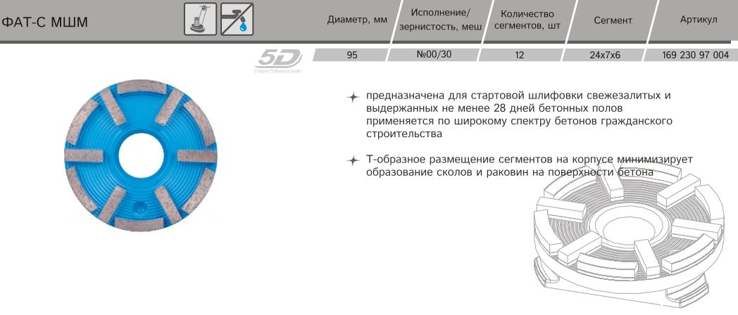 Алмазная фреза Distar ФАТС-W 95/МШМ-12 №00/30 169 230 97 004