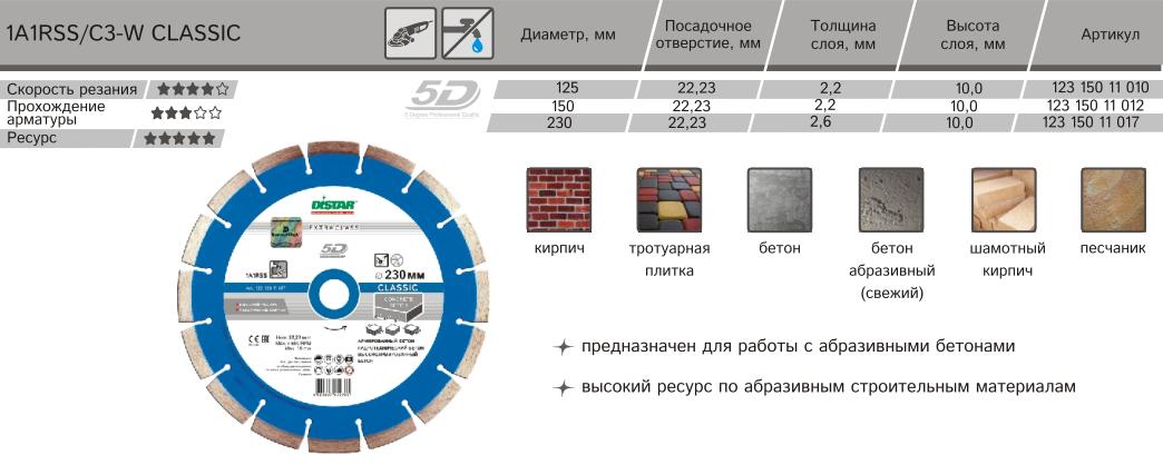 Круг отрезной Distar LS50H 1A1RSS/C3-W 125*2,2/1,3*10*22,23-10 Classic 123 150 11 010